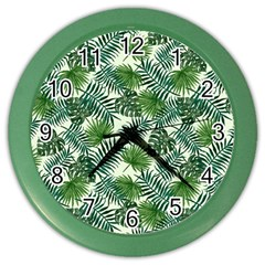Leaves Tropical Wallpaper Foliage Color Wall Clock