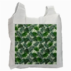 Leaves Tropical Wallpaper Foliage Recycle Bag (one Side) by Pakrebo