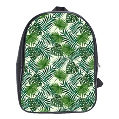 Leaves Tropical Wallpaper Foliage School Bag (Large)