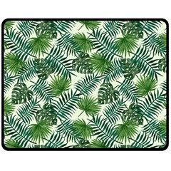 Leaves Tropical Wallpaper Foliage Fleece Blanket (medium)  by Pakrebo
