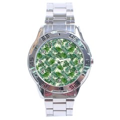 Leaves Tropical Wallpaper Foliage Stainless Steel Analogue Watch