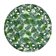 Leaves Tropical Wallpaper Foliage Ornament (Round Filigree)