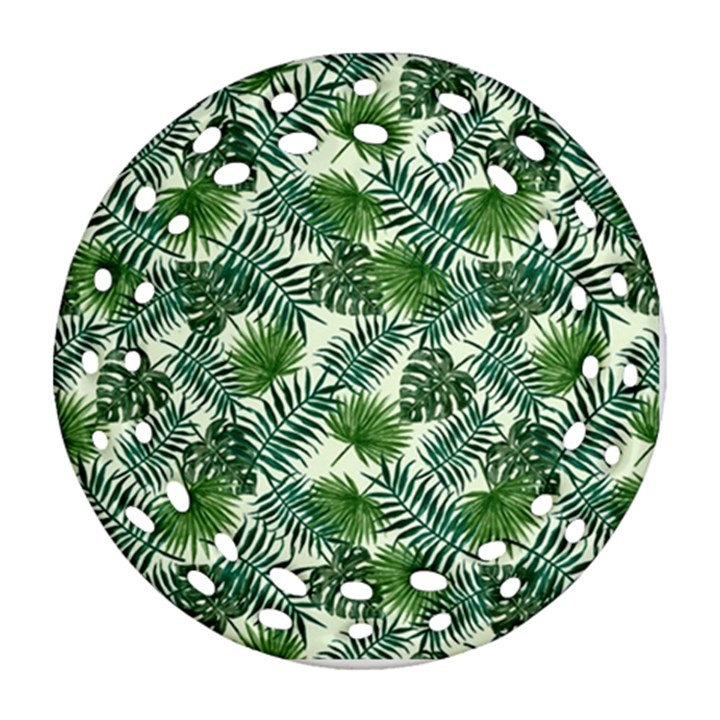 Leaves Tropical Wallpaper Foliage Round Filigree Ornament (Two Sides)