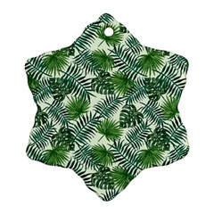 Leaves Tropical Wallpaper Foliage Snowflake Ornament (Two Sides)
