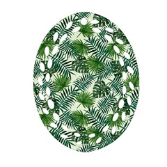 Leaves Tropical Wallpaper Foliage Oval Filigree Ornament (Two Sides)
