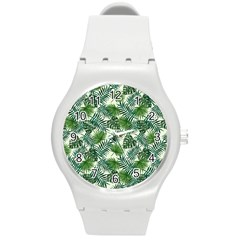 Leaves Tropical Wallpaper Foliage Round Plastic Sport Watch (M)