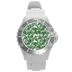 Leaves Tropical Wallpaper Foliage Round Plastic Sport Watch (L)