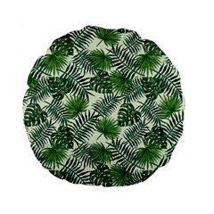 Leaves Tropical Wallpaper Foliage Standard 15  Premium Round Cushions by Pakrebo