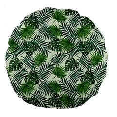 Leaves Tropical Wallpaper Foliage Large 18  Premium Round Cushions by Pakrebo