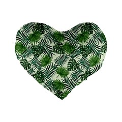 Leaves Tropical Wallpaper Foliage Standard 16  Premium Heart Shape Cushions by Pakrebo