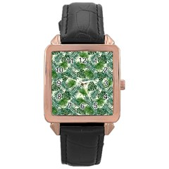 Leaves Tropical Wallpaper Foliage Rose Gold Leather Watch