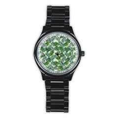 Leaves Tropical Wallpaper Foliage Stainless Steel Round Watch