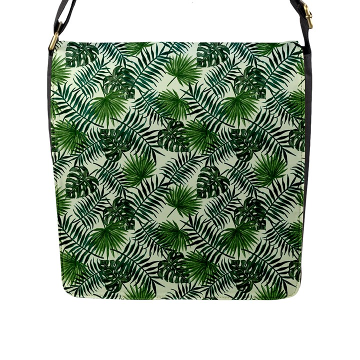 Leaves Tropical Wallpaper Foliage Flap Closure Messenger Bag (L)