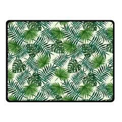 Leaves Tropical Wallpaper Foliage Double Sided Fleece Blanket (Small)