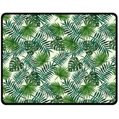 Leaves Tropical Wallpaper Foliage Double Sided Fleece Blanket (Medium)