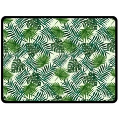 Leaves Tropical Wallpaper Foliage Double Sided Fleece Blanket (Large)