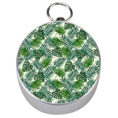 Leaves Tropical Wallpaper Foliage Silver Compasses