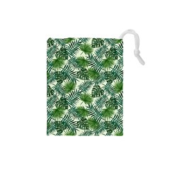 Leaves Tropical Wallpaper Foliage Drawstring Pouch (Small)