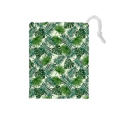 Leaves Tropical Wallpaper Foliage Drawstring Pouch (Medium)