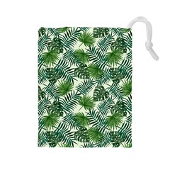 Leaves Tropical Wallpaper Foliage Drawstring Pouch (Large)