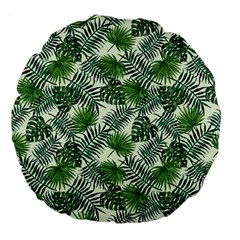 Leaves Tropical Wallpaper Foliage Large 18  Premium Flano Round Cushions by Pakrebo