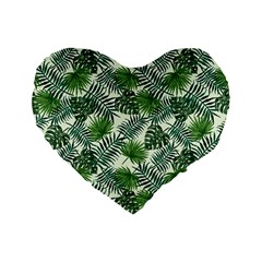 Leaves Tropical Wallpaper Foliage Standard 16  Premium Flano Heart Shape Cushions by Pakrebo