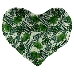 Leaves Tropical Wallpaper Foliage Large 19  Premium Flano Heart Shape Cushions by Pakrebo