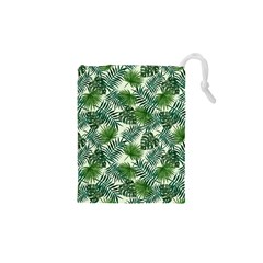 Leaves Tropical Wallpaper Foliage Drawstring Pouch (XS)