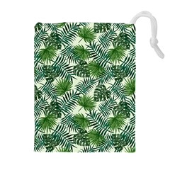 Leaves Tropical Wallpaper Foliage Drawstring Pouch (XL)