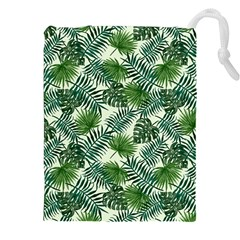 Leaves Tropical Wallpaper Foliage Drawstring Pouch (XXL)