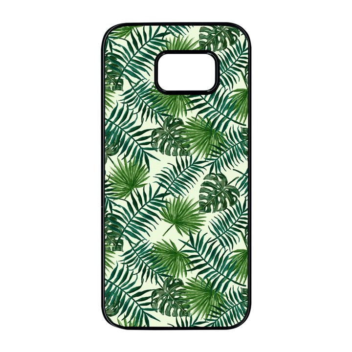 Leaves Tropical Wallpaper Foliage Samsung Galaxy S7 edge Black Seamless Case