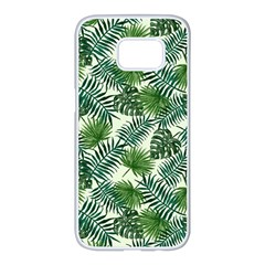 Leaves Tropical Wallpaper Foliage Samsung Galaxy S7 edge White Seamless Case