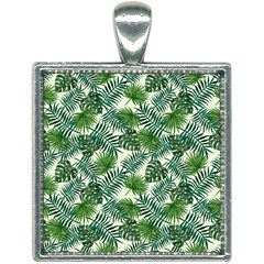 Leaves Tropical Wallpaper Foliage Square Necklace