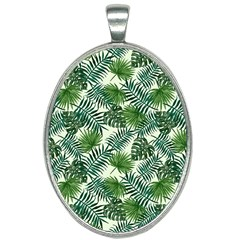 Leaves Tropical Wallpaper Foliage Oval Necklace