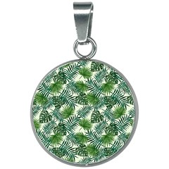 Leaves Tropical Wallpaper Foliage 20mm Round Necklace