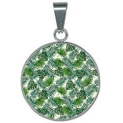 Leaves Tropical Wallpaper Foliage 25mm Round Necklace