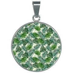 Leaves Tropical Wallpaper Foliage 30mm Round Necklace