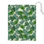 Leaves Tropical Wallpaper Foliage Drawstring Pouch (XXXL) Front