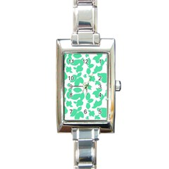 Botanical Motif Print Pattern Rectangle Italian Charm Watch