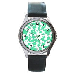 Botanical Motif Print Pattern Round Metal Watch