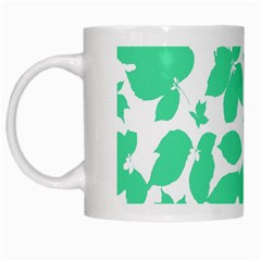 Botanical Motif Print Pattern White Mugs