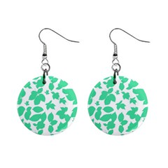 Botanical Motif Print Pattern Mini Button Earrings