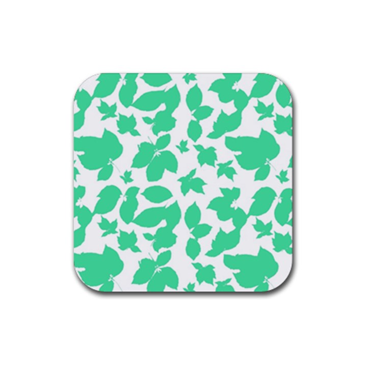 Botanical Motif Print Pattern Rubber Coaster (Square)