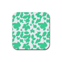 Botanical Motif Print Pattern Rubber Square Coaster (4 pack)