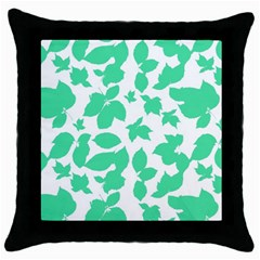 Botanical Motif Print Pattern Throw Pillow Case (Black)