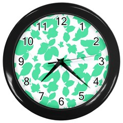 Botanical Motif Print Pattern Wall Clock (Black)