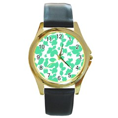 Botanical Motif Print Pattern Round Gold Metal Watch