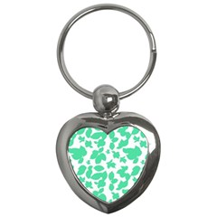 Botanical Motif Print Pattern Key Chain (Heart)
