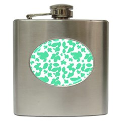 Botanical Motif Print Pattern Hip Flask (6 oz)