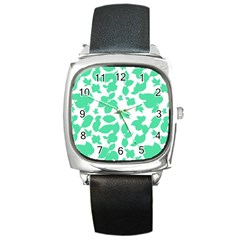 Botanical Motif Print Pattern Square Metal Watch